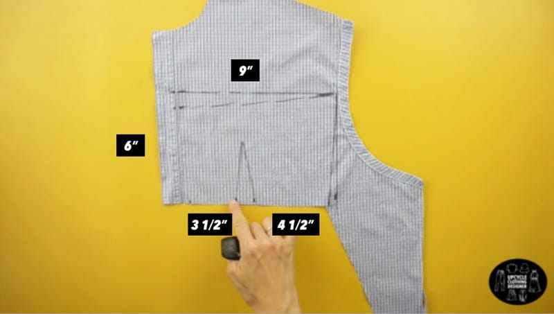 Measurements for the back piece of the top bodice.