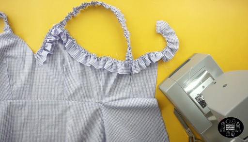 Attach the ruffles to the sweetheart neckline, around the armhole and along the back of the top opening.
