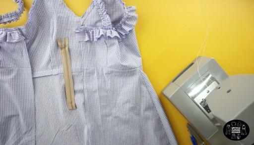 Add a zipper to the back center of the mini dress.