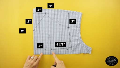 Measurements for the front of the top bodices including the bust darts and sweetheart neckline.