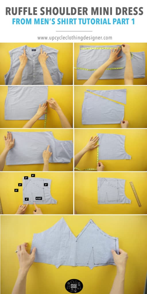 How to make the sweetheart neckline and bust darts for front top bodice of the ruffle mini dress from men's dress shirt.