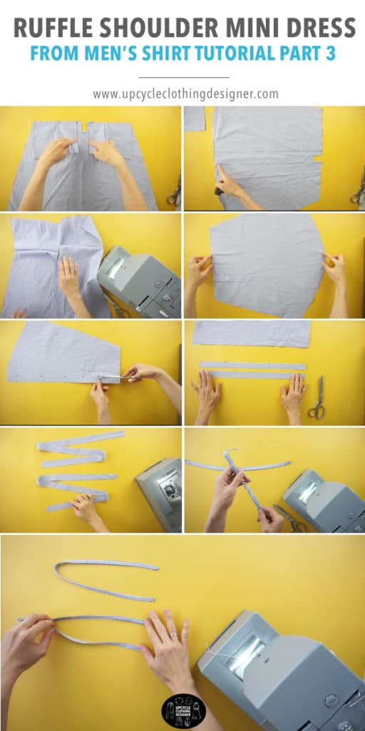 How to make the ruffle shoulder straps for the ruffle mini dress from men's dress shirt