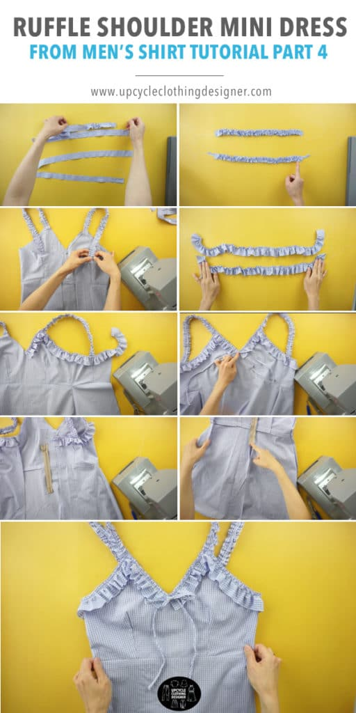 How to make the ruffles for the top opening of the ruffle mini dress from men's dress shirt
