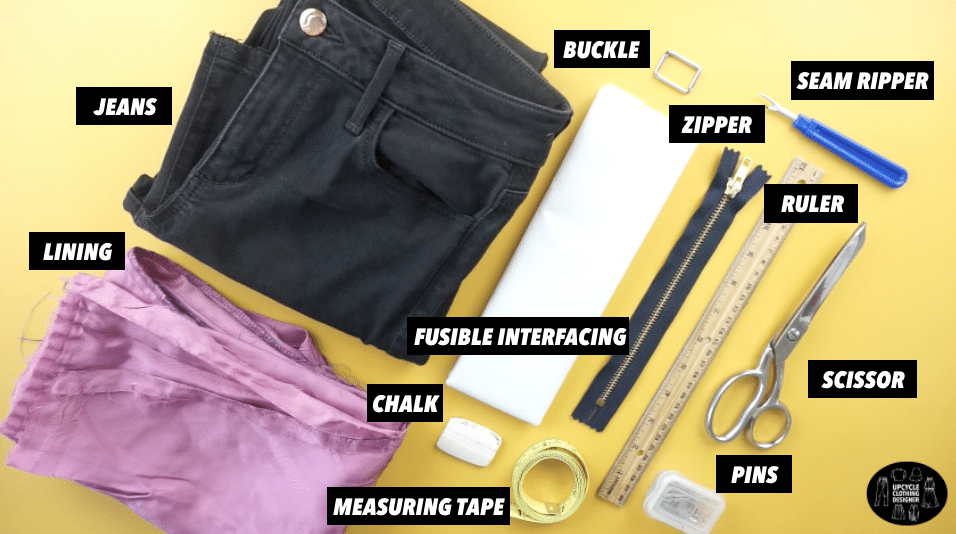 Materials to make a crescent purse from old jeans.