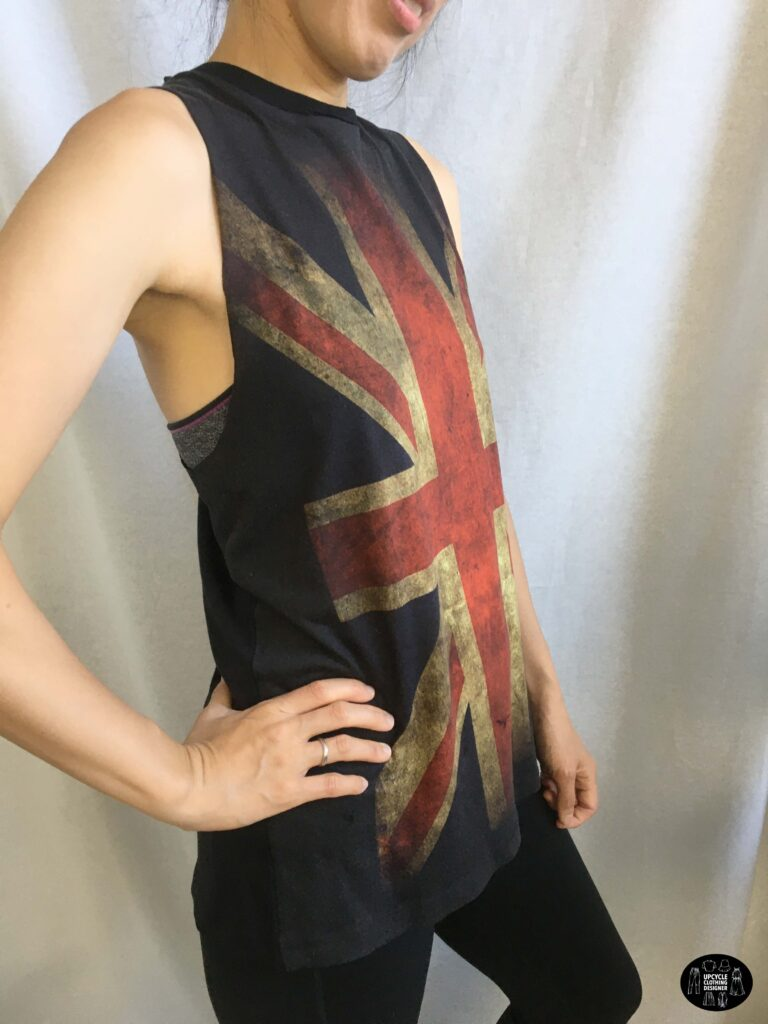 Sideview of the diy crossover back tank from t-shirt
