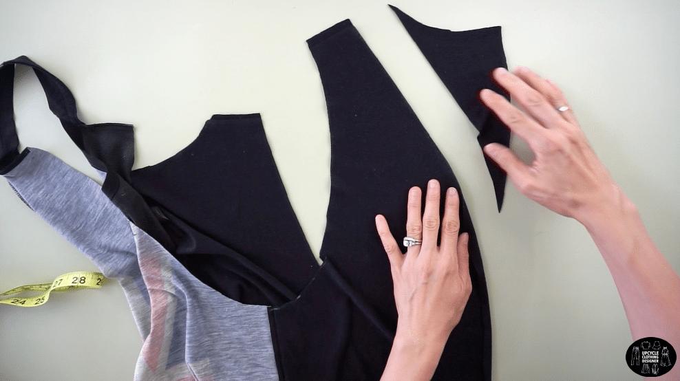 Cut to modify the shoulder straps