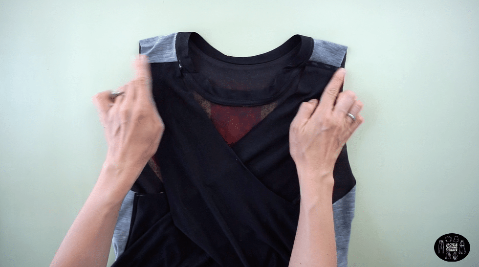 Join the crossover back pieces with fabric glue on both shoulder seams