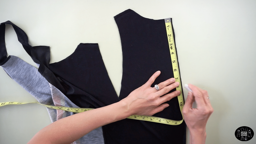 """Measure 8"""" down from the top of the back center opening to make the seamless shoulder straps"""