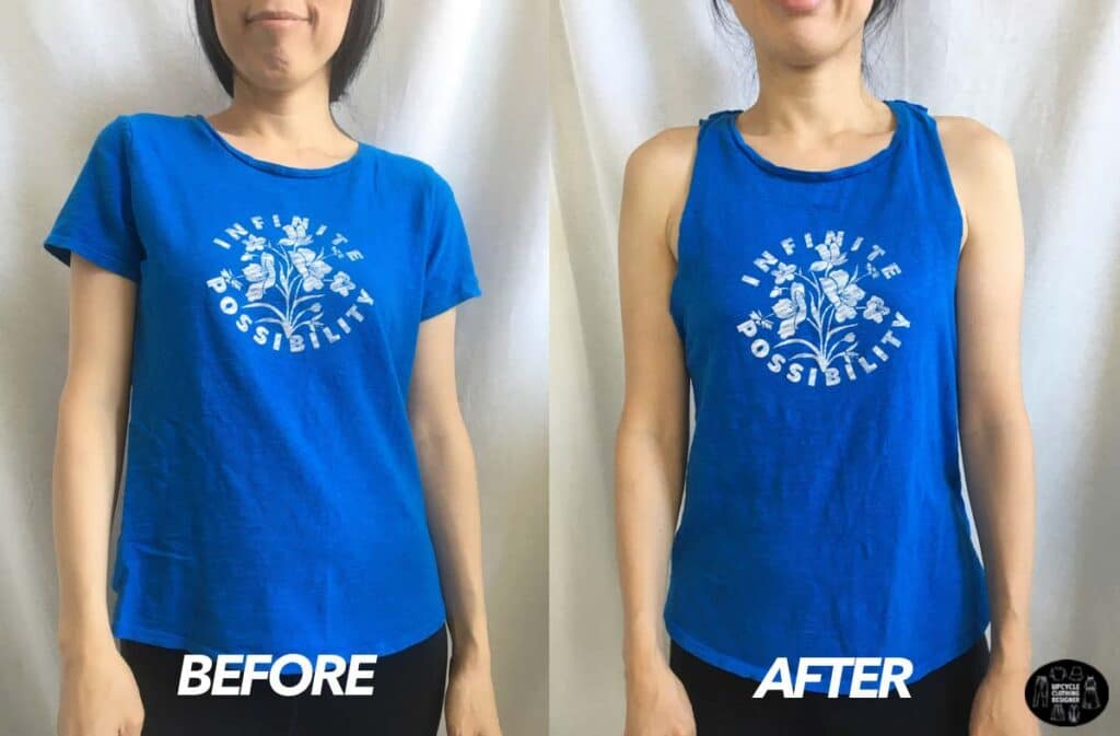 DIY cutout twist tank from t-shirt before and after