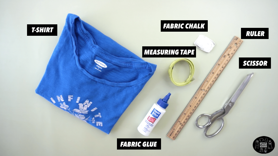 Materials to make a diy cutout twist tank from t-shirt