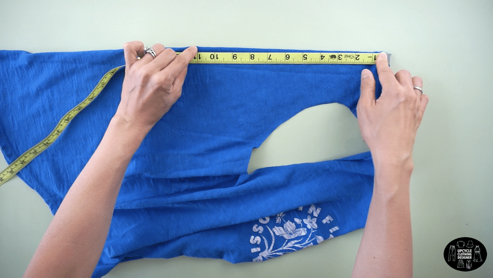 """Measure 11"""" down the center back to make the cutout."""