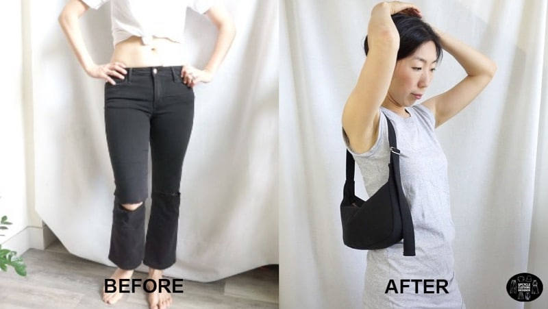 DIY crescent purse form old jeans before and after