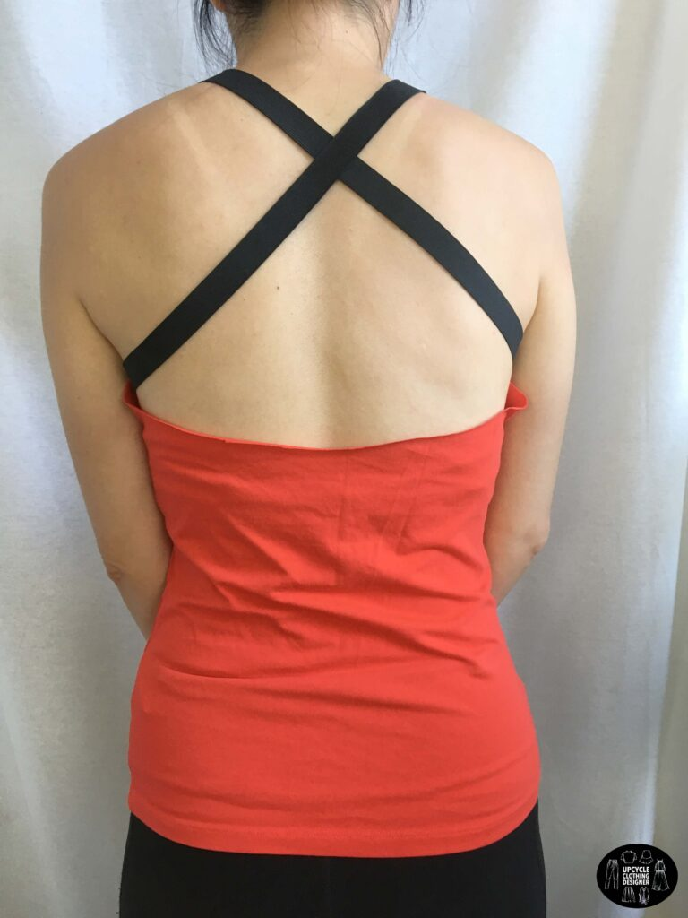 Back view of the diy strap tank top from t-shirt.