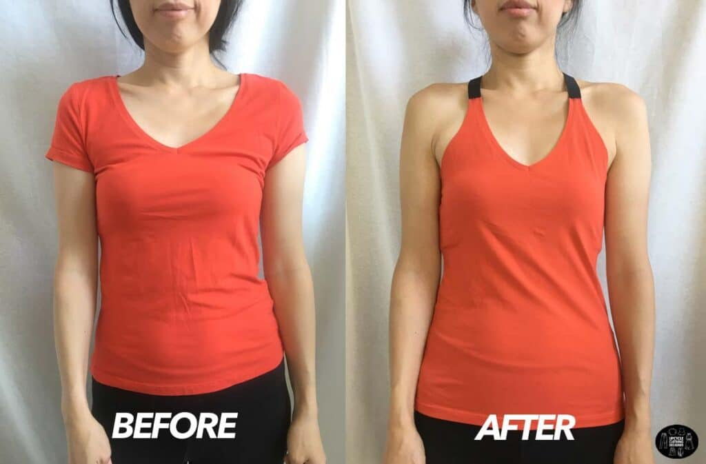 DIY strap tank top from t-shirt before and after