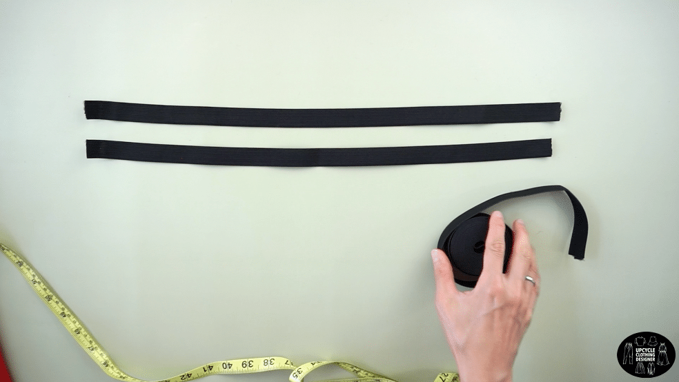 """Cut two 20"""" long pieces of ¾"""" elastic band"""