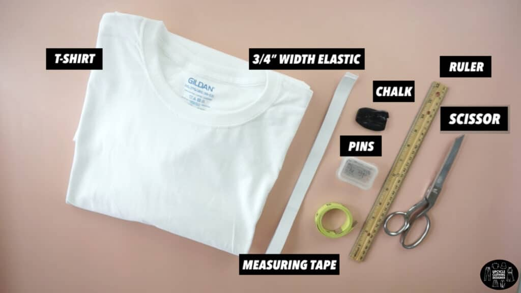 Materials to make a high waisted circle skirt from a t-shirt