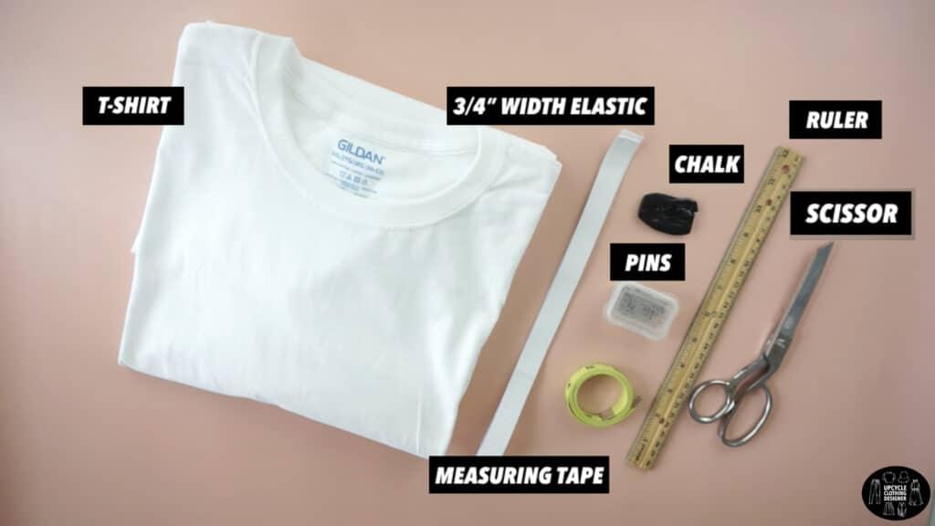 Materials to make a high waisted circle skirt from a t-shirt