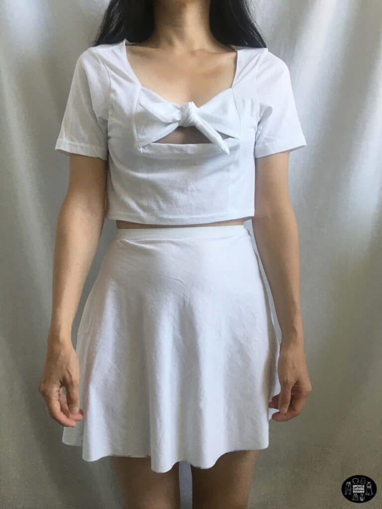 Tie front crop top paired with a high waisted circle mini skirt