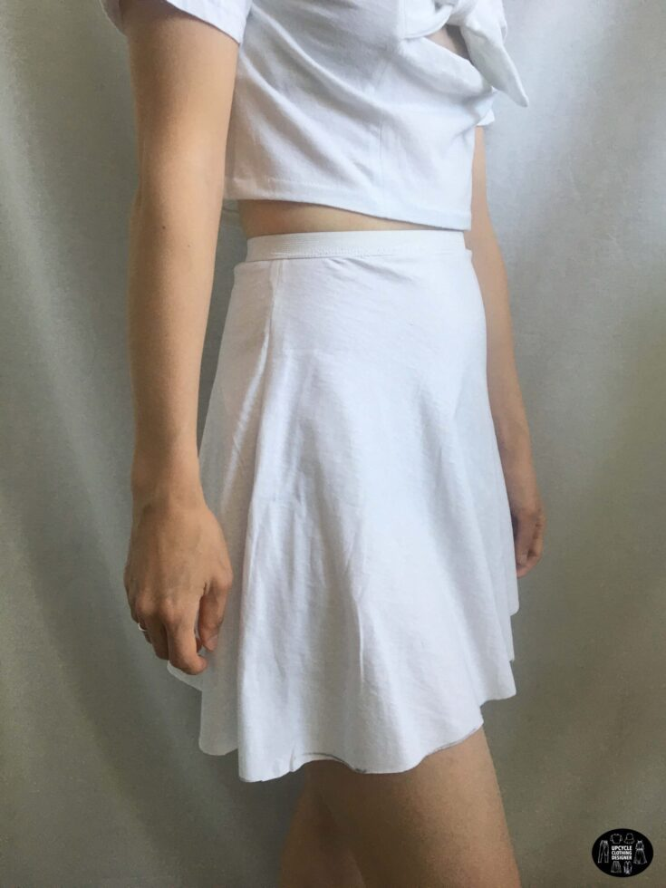 Sideview of the high waisted circle mini skirt from a t-shirt