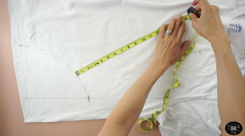 "Measure 16"" away from the waistline to mark the skirt bottom"