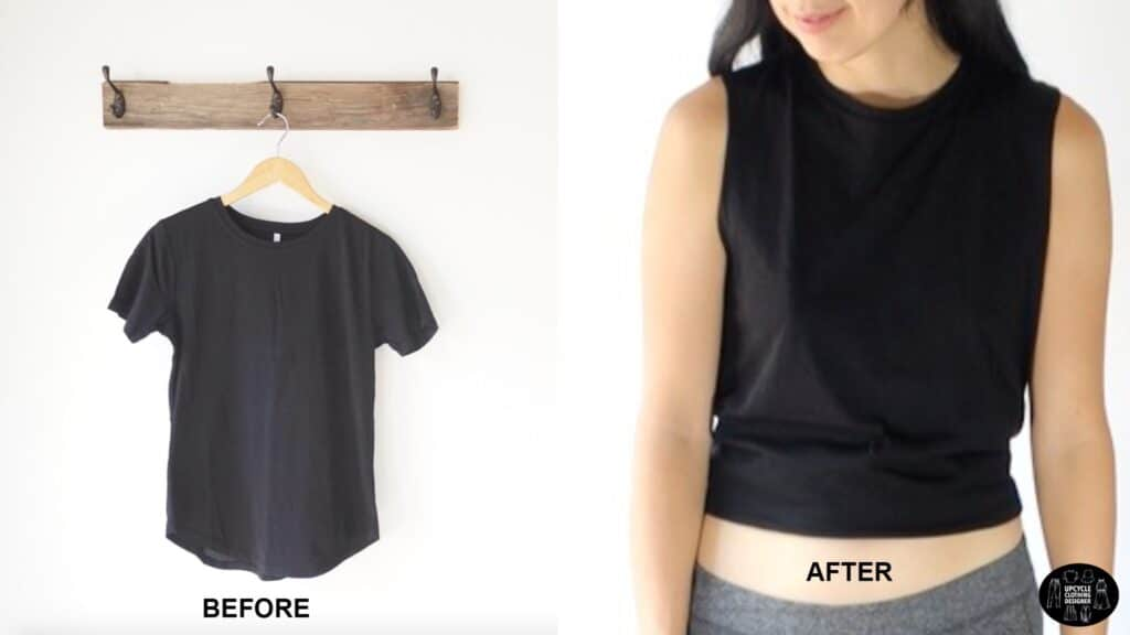 How to cut a t-shirt into a tank top before and after