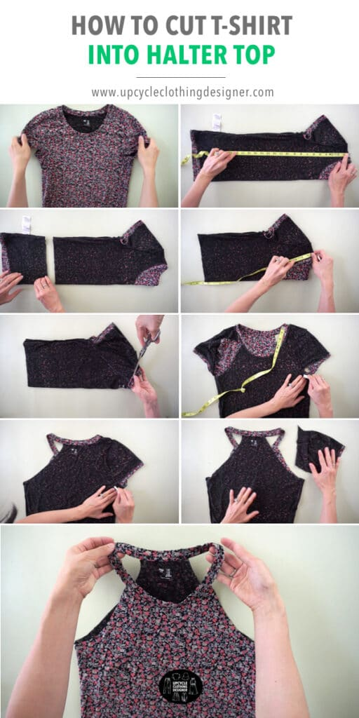 How to cut a halter top from t-shirt.