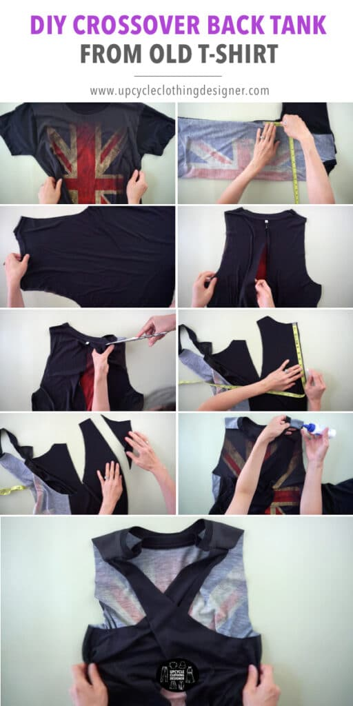 How to make a crossover back tank top from a t-shirt without sewing.