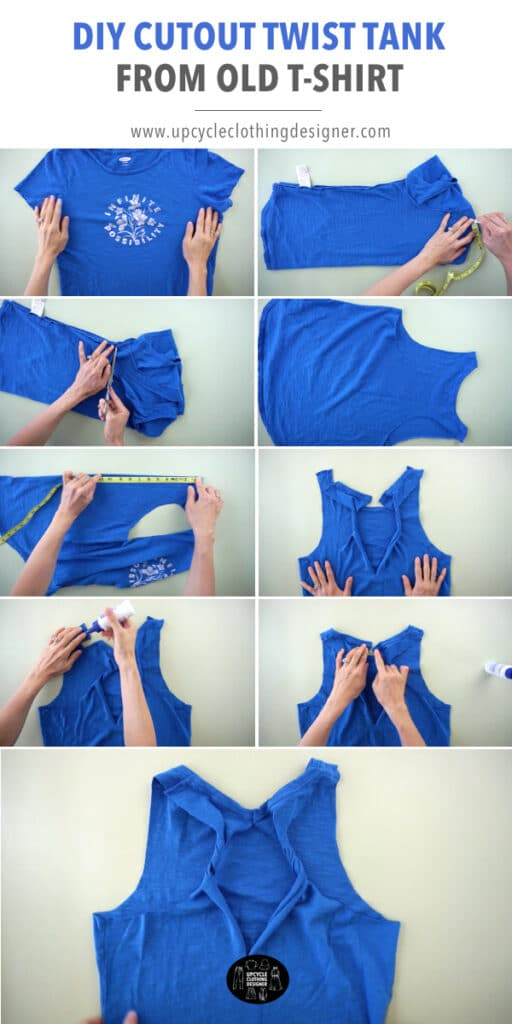 How to make a no sew cutout twist tank top from tee