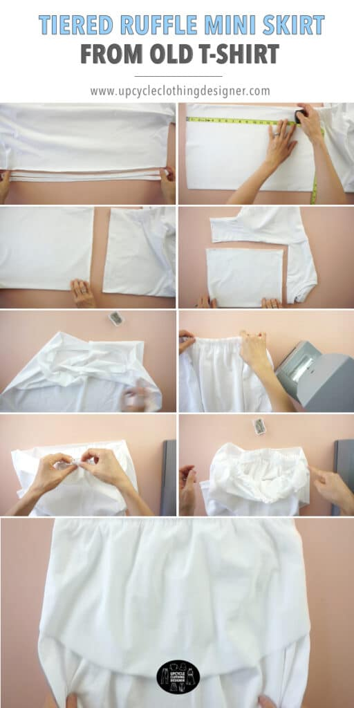 How to make a tiered ruffle mini skirt from t-shirt