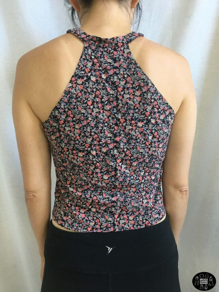 Back view of the no sew halter top from t-shirt