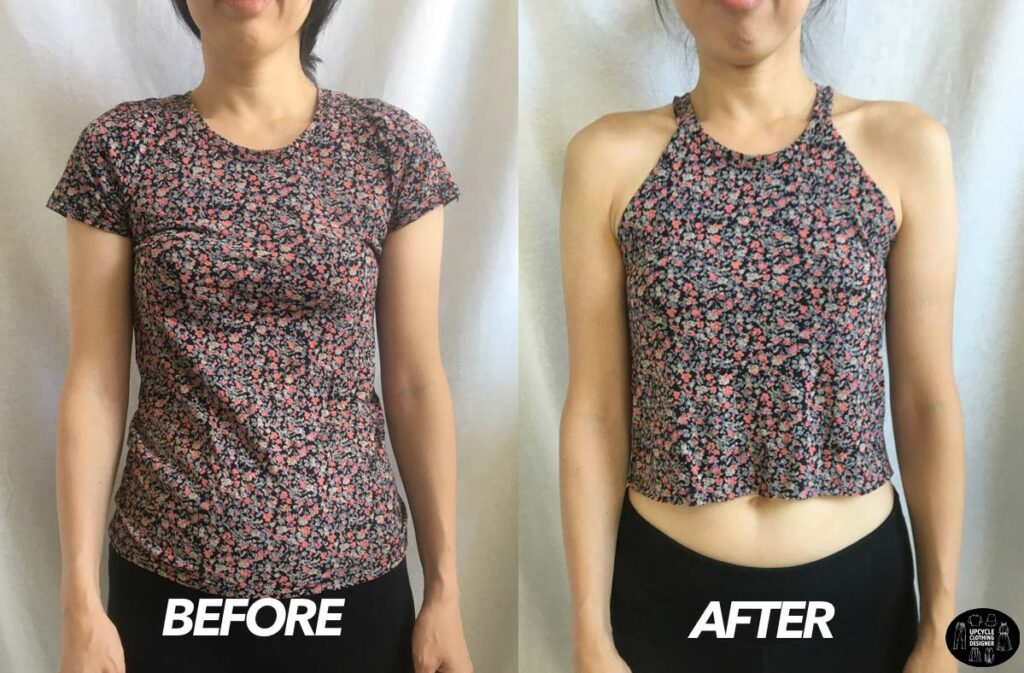 No sew halter top from t-shirt before and after