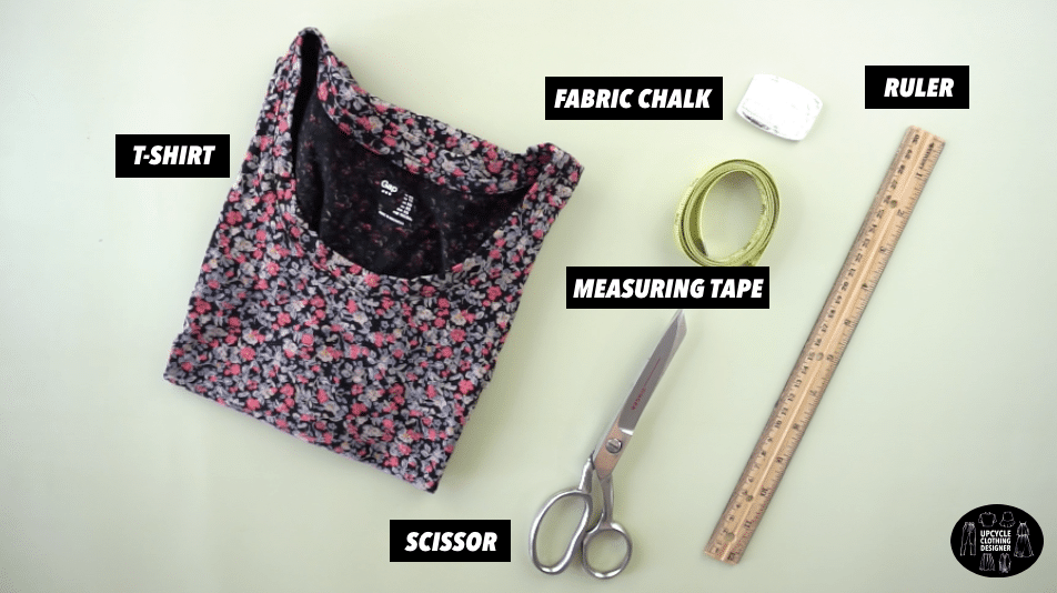 Materials to make a no sew halter top from t-shirt