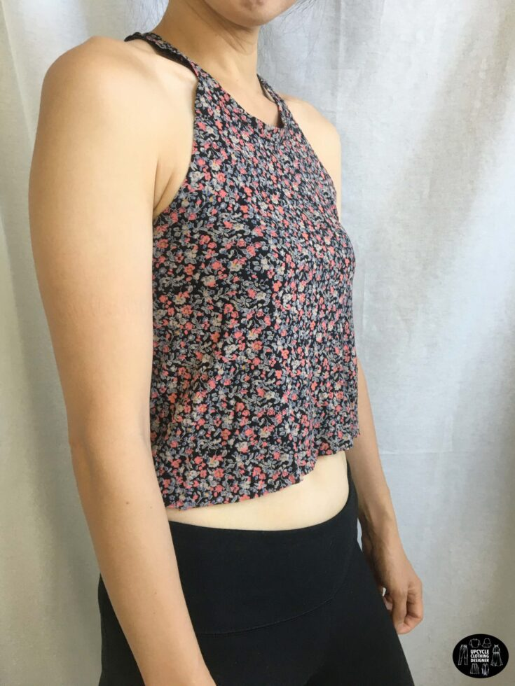 Sideview of the no sew halter top from t-shirt