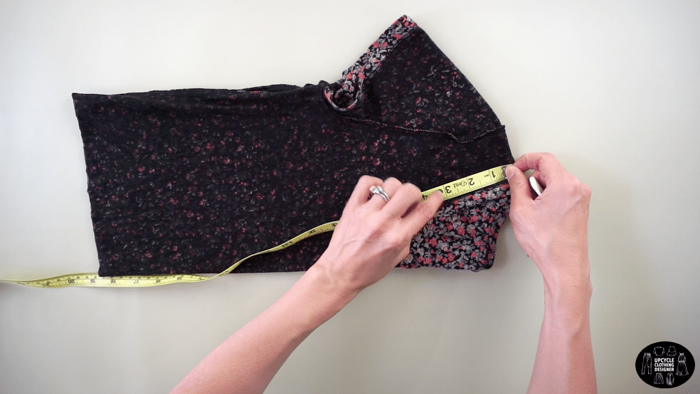 """Measure 3"""" down the front neckband from the high point on the shoulder"""