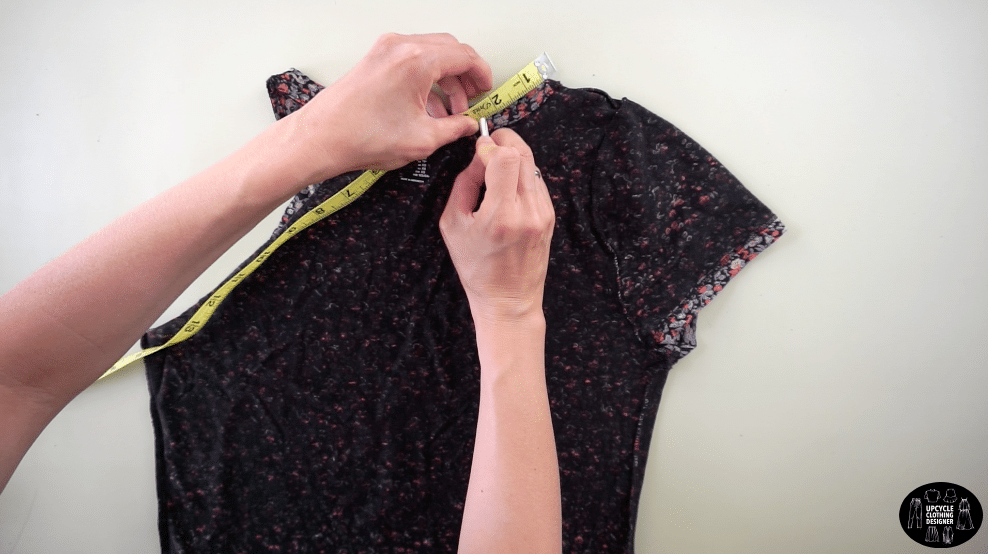 """Measure 3"""" down the back neckband from the high point on the shoulder"""