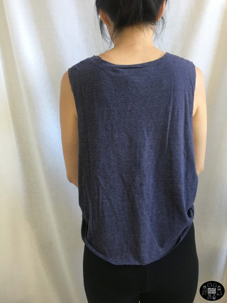 Back view of the no sew muscle tank from t-shirt.
