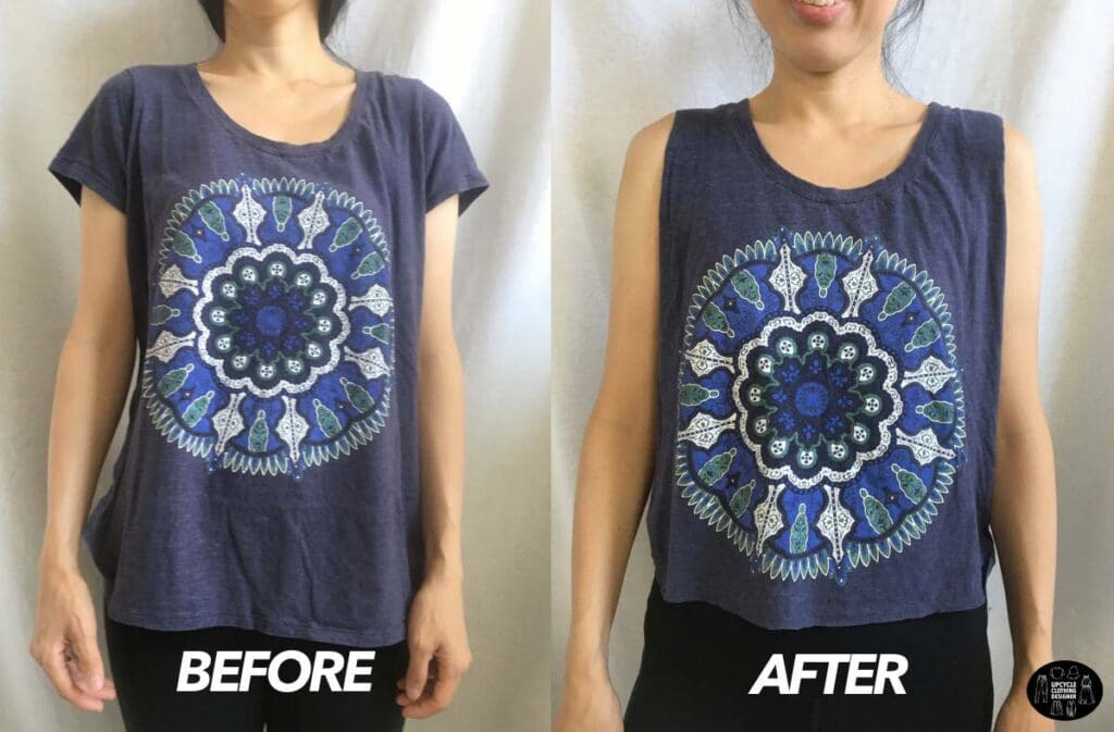 No sew muscle tank from t-shirt before and after