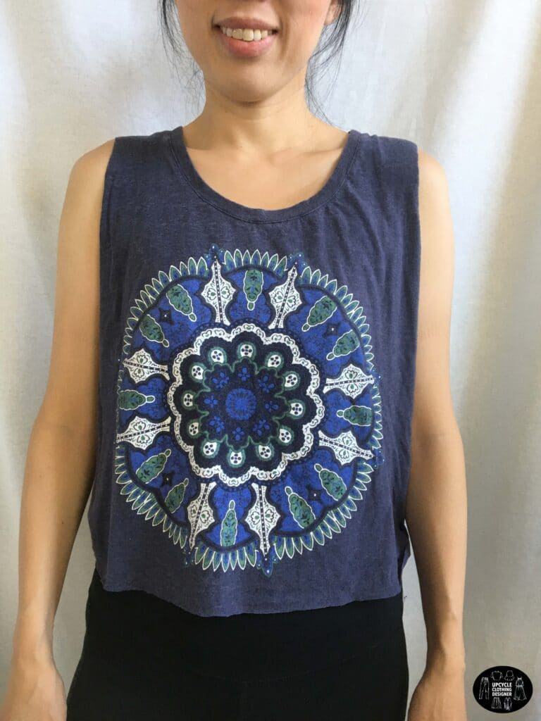Front view of the no sew muscle tank from t-shirt.