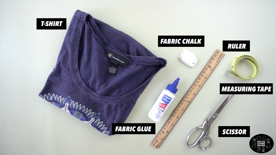 Materials to make a no sew muscle tank from t-shirt.