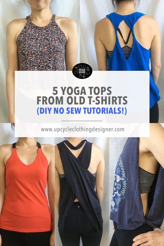 no sew yoga tops from old t-shirts