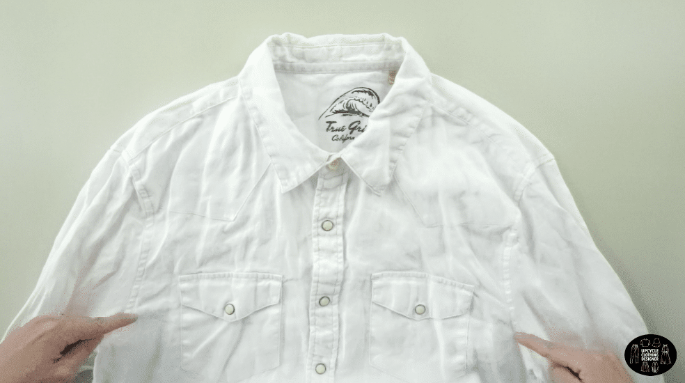 original men's shirt used to make the square neck tie front blouse