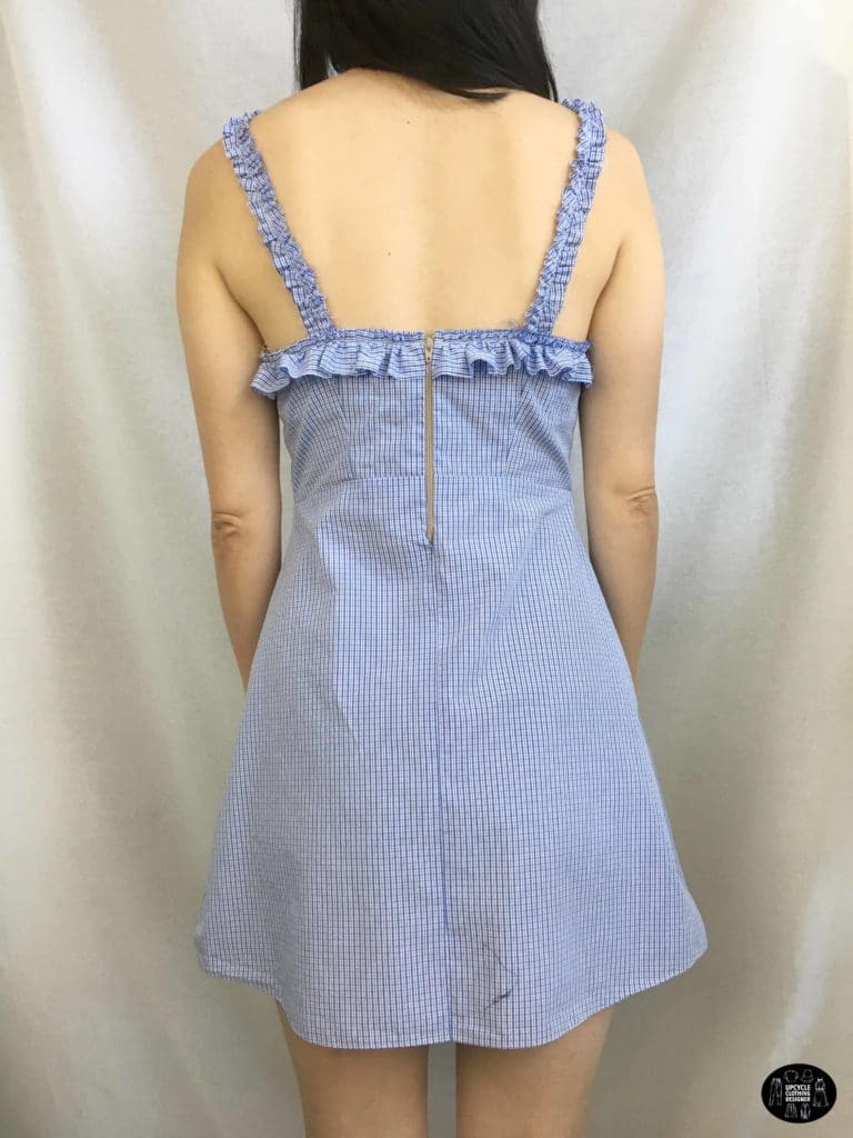 Ruffle shoulder dress from men's shirt back view