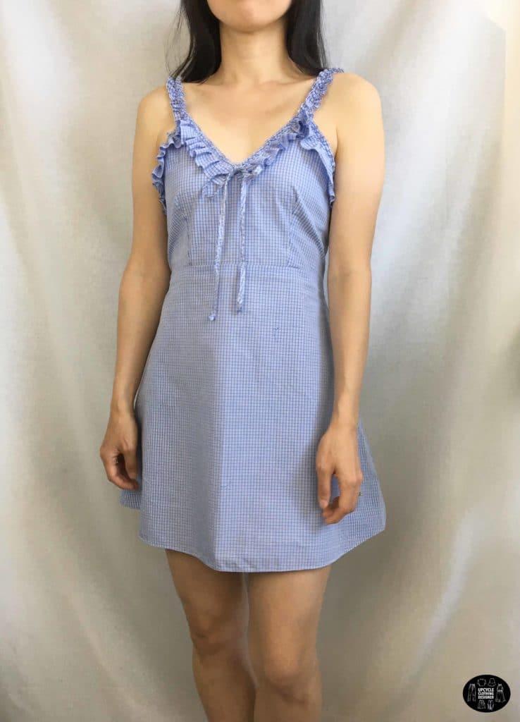 Ruffle shoulder dress from men's shirt front view