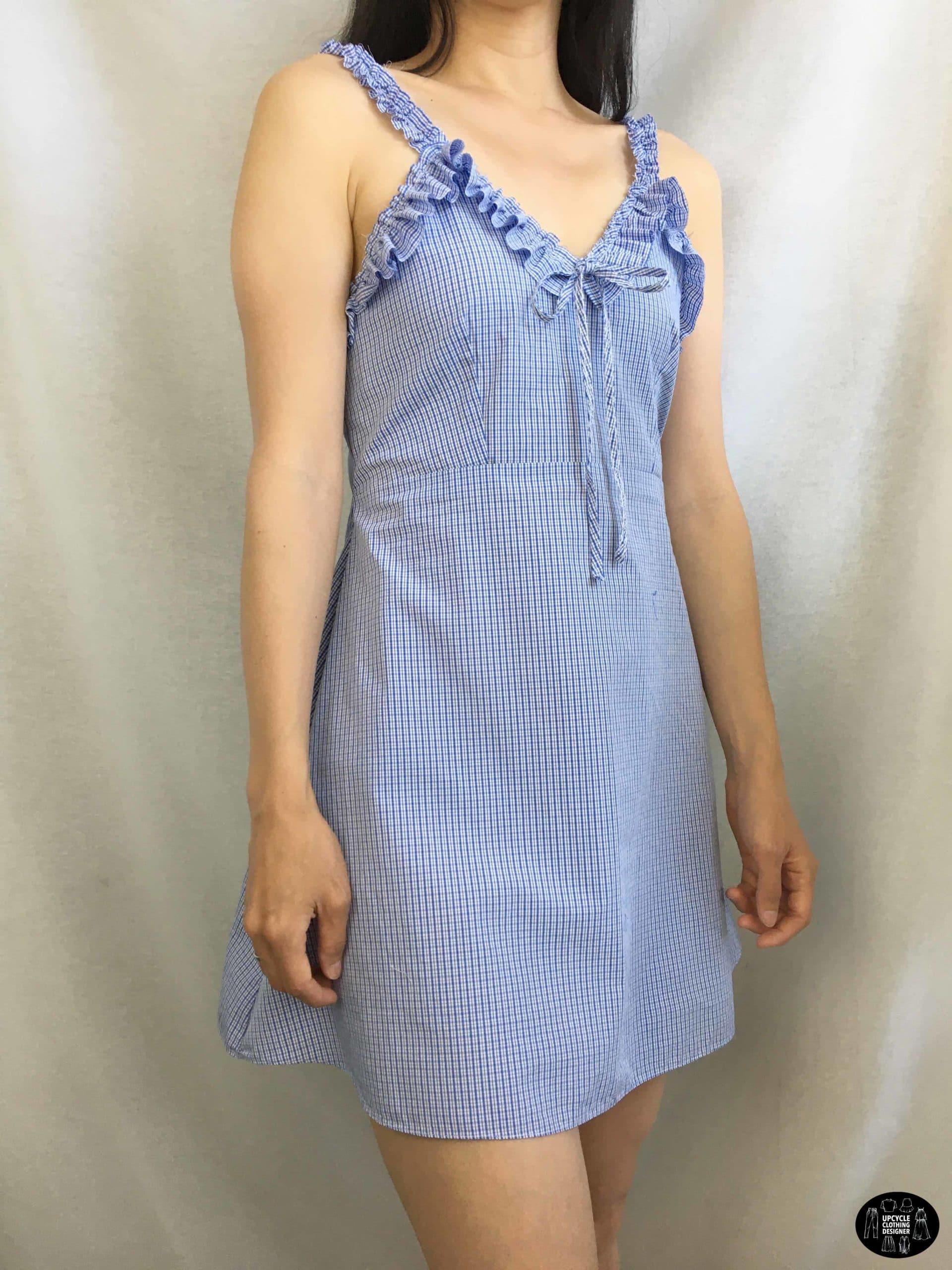 Ruffle shoulder dress from men's shirt sideview