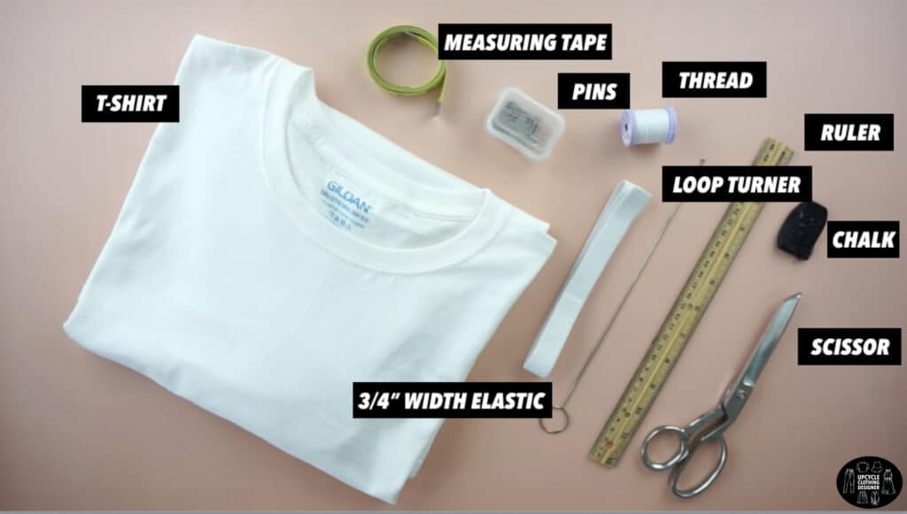 Materials to make a side ruched mini skirt from a t-shirt