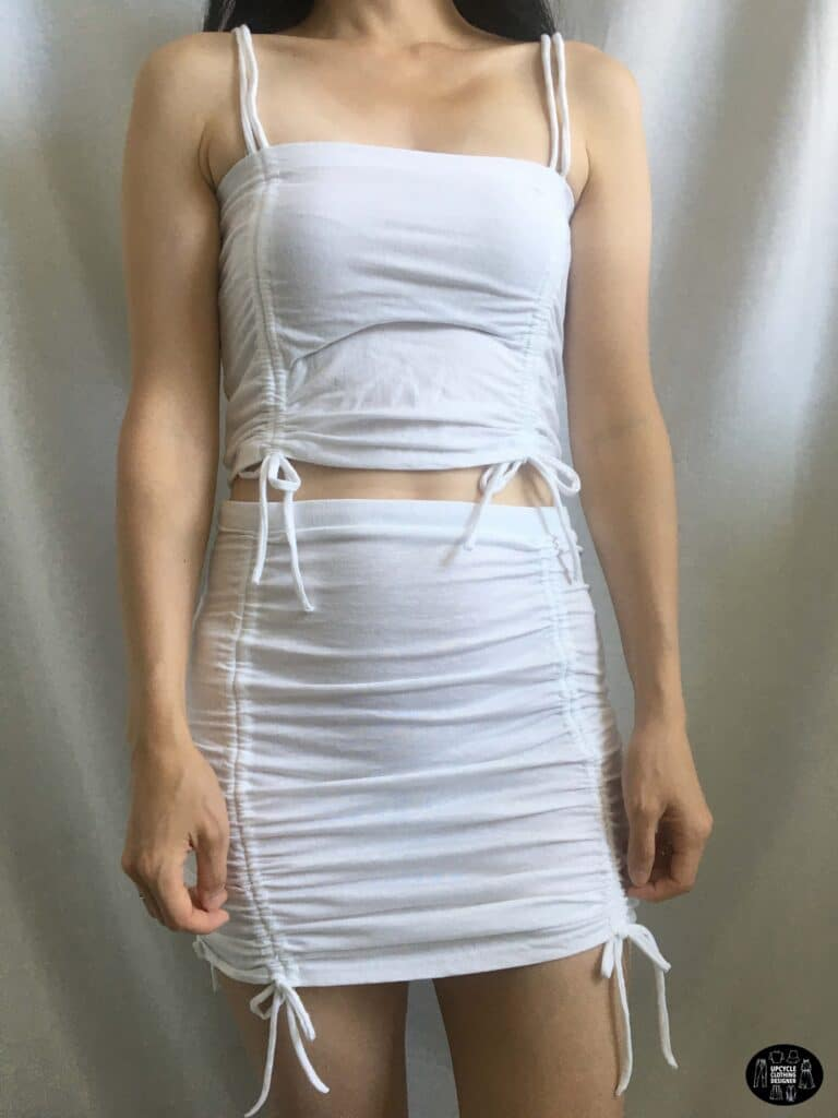 Side ruched crop top paired with the side ruched mini skirt