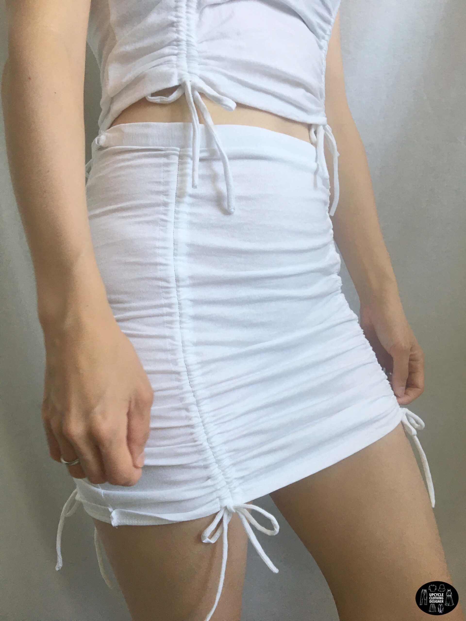 Sideview of the side ruched mini skirt from a t-shirt