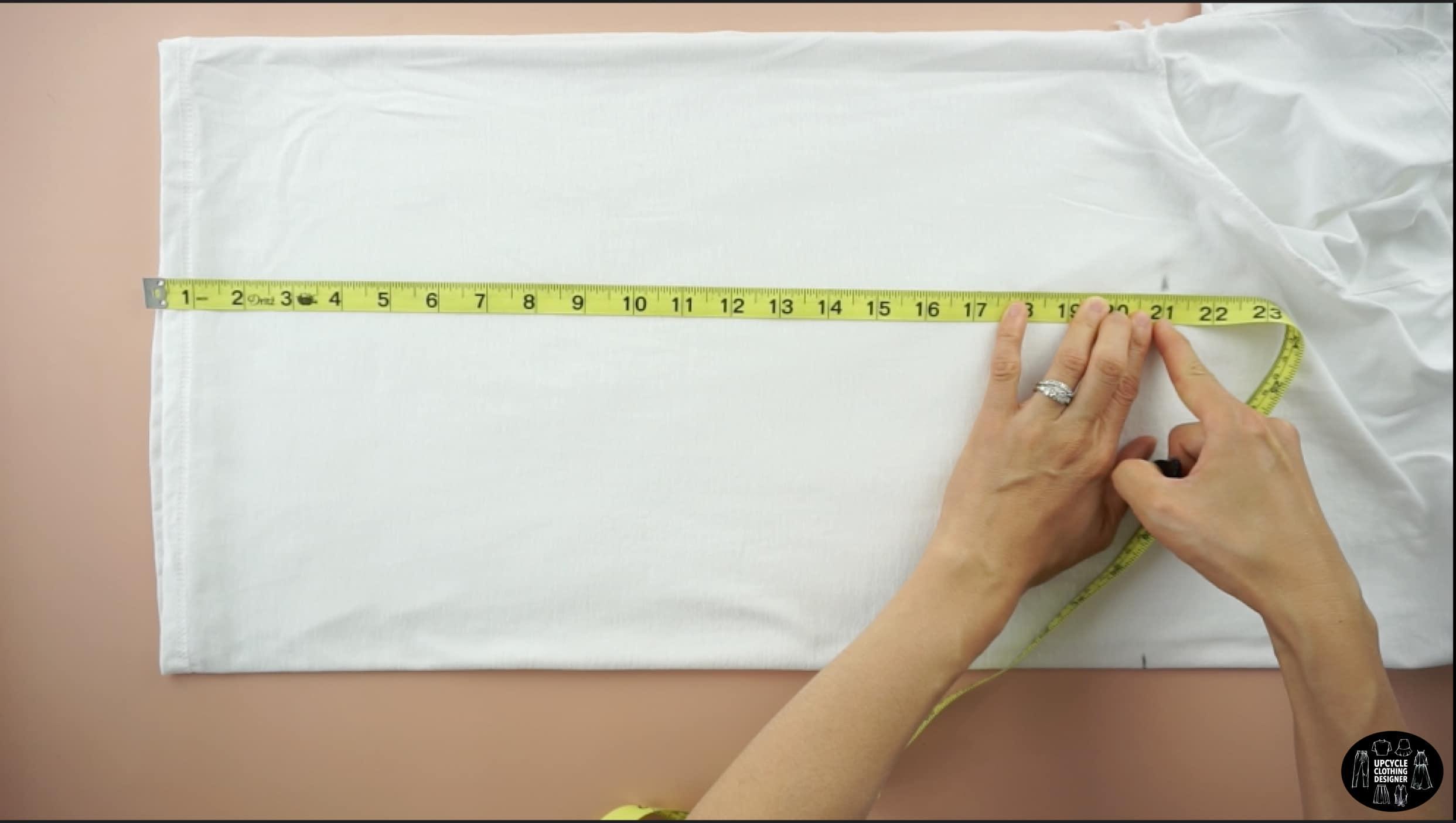 "Measure 21"" up from the bottom hemline"
