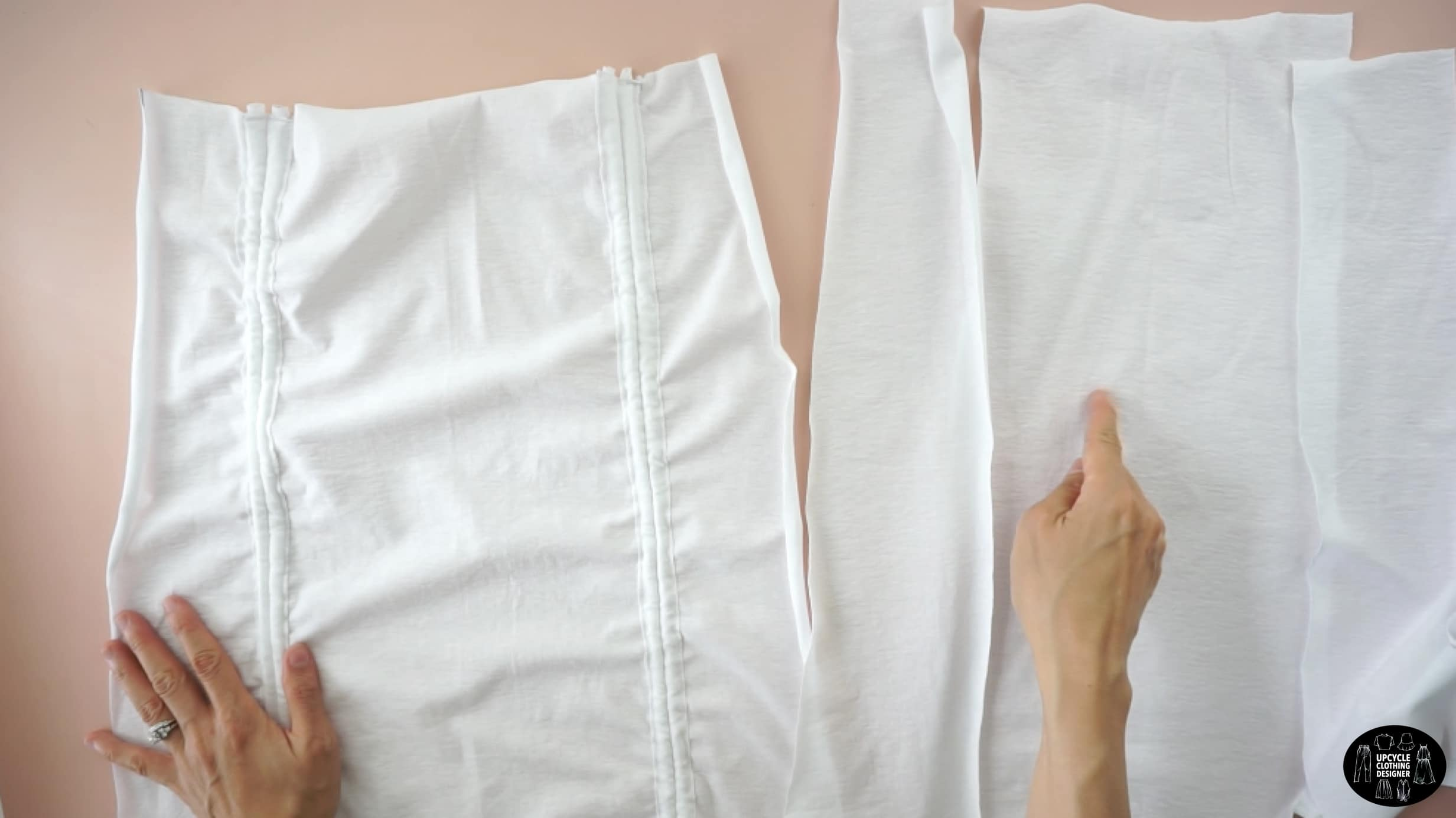 Make the back of the ruched mini skirt