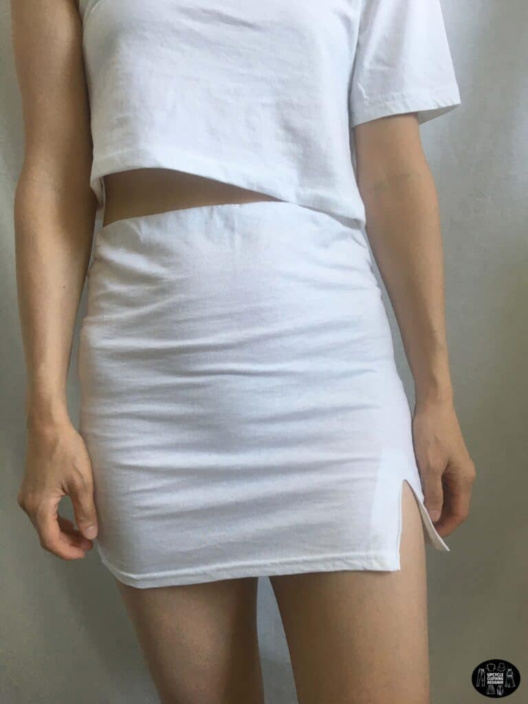 Front view of the side slit mini skirt from a t-shirt